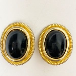Earrings Givenchy Vintage Black & Gold Tone Clips